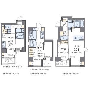 中央區新富-1LDK公寓大廈 房間格局