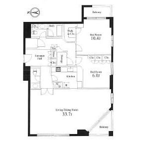2LDK Mansion in Motoazabu - Minato-ku Floorplan