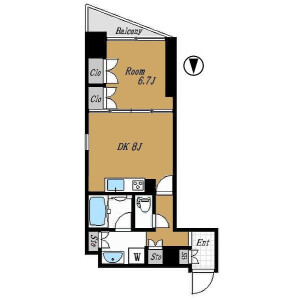 1DK Mansion in Higashikanda - Chiyoda-ku Floorplan