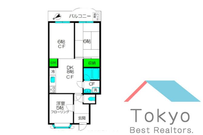 3DK Apartment to Rent in Nakano-ku Floorplan