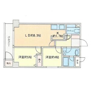 2LDK Mansion in Ebisu - Shibuya-ku Floorplan
