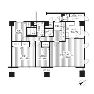 3LDK Mansion in Kaigan(3-chome) - Minato-ku Floorplan