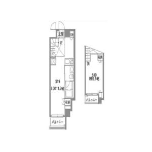 1LDK Mansion in Aobadai - Meguro-ku Floorplan