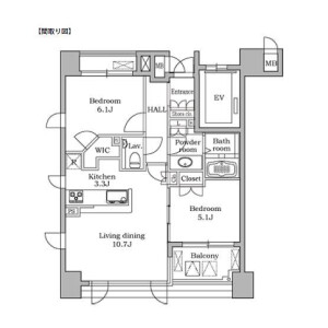 2LDK Mansion in Daikanyamacho - Shibuya-ku Floorplan