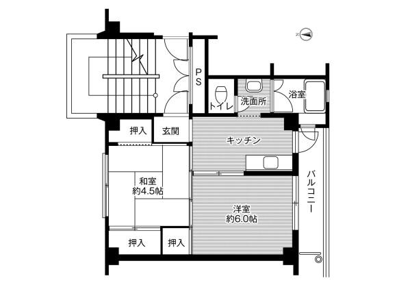 2K Apartment to Rent in Yuki-shi Floorplan