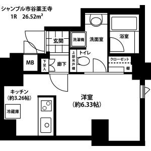 新宿區市谷薬王寺町-1R公寓大廈 房間格局