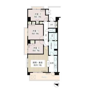 3LDK Mansion in Nishigotanda - Shinagawa-ku Floorplan