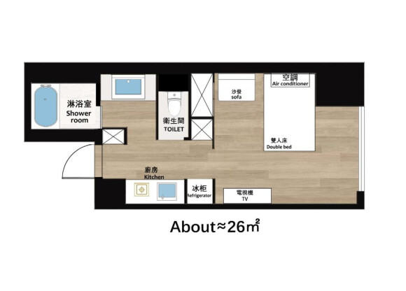 在大阪市東淀川區內租賃1K 公寓大廈 的房產 房間格局