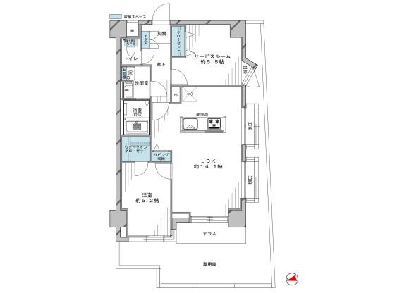 1SLDK Apartment to Buy in Nerima-ku Floorplan