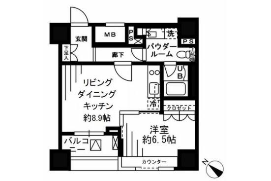 1LDK Apartment to Rent in Chuo-ku Interior