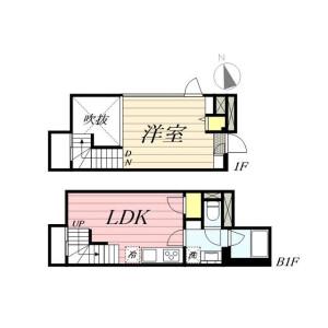 新宿區新宿-1LDK公寓大廈 房間格局