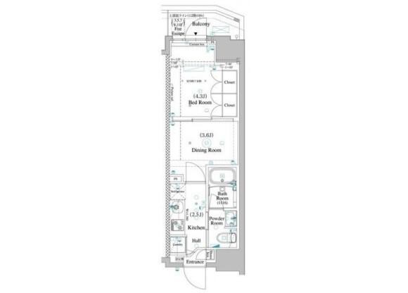 2K Apartment to Rent in Toshima-ku Floorplan