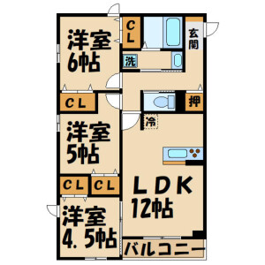 3LDK Apartment in Shimoishiwara - Chofu-shi Floorplan