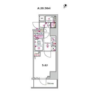 1K Mansion in Hamamatsucho - Yokohama-shi Nishi-ku Floorplan