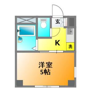 小金井市中町-1K公寓大廈 房間格局