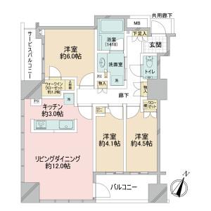 千代田区岩本町-3SLDK{building type} 楼层布局
