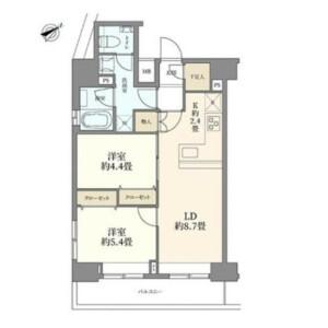 2LDK Mansion in Toranomon - Minato-ku Floorplan