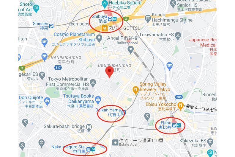 Land only Land only to Buy in Shibuya-ku Map