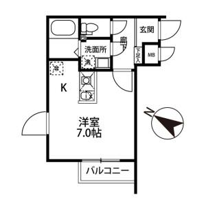 1R Mansion in Nishinarashino - Funabashi-shi Floorplan