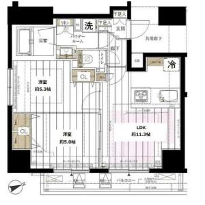 2LDK Mansion in Shimbashi - Minato-ku Floorplan
