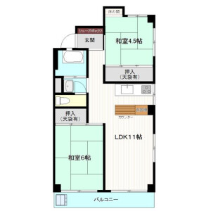 2LDK 맨션 in Zoshigaya - Toshima-ku Floorplan