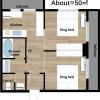 2LDK Apartment to Rent in Osaka-shi Naniwa-ku Floorplan