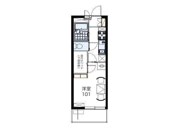 在名古屋市北区内租赁1K 公寓大厦 的 楼层布局