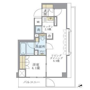 世田谷区北沢-1LDK公寓大厦 楼层布局