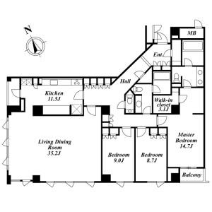 3LDK Mansion in Roppongi - Minato-ku Floorplan