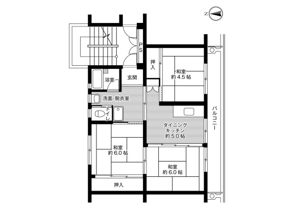 3DK Apartment to Rent in Uozu-shi Floorplan