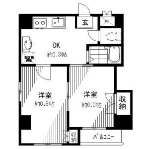 墨田区 業平 2DK アパート 間取り