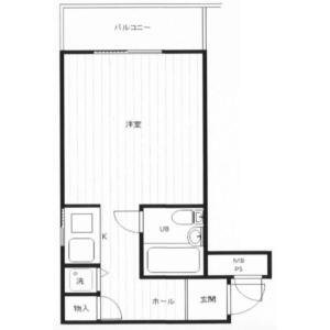1R {building type} in Tairamachi - Meguro-ku Floorplan