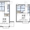 在墨田区内租赁1K 公寓 的 楼层布局