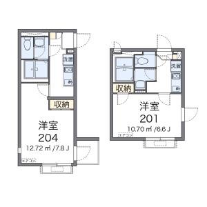 墨田区東向島-1K公寓 楼层布局