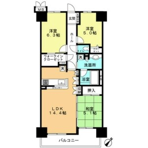 横浜市西区 中央 3LDK {building type} 間取り