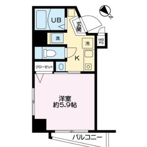 1K {building type} in Yaguchi - Ota-ku Floorplan