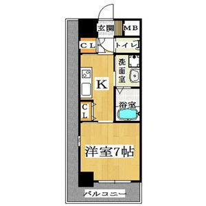 1K Mansion in Shimanochi - Osaka-shi Chuo-ku Floorplan