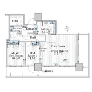 2LDK Mansion in Minato - Chuo-ku Floorplan