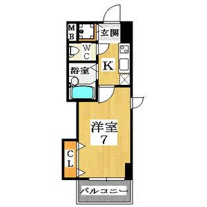 1K Mansion in Ajiro - Higashiosaka-shi Floorplan