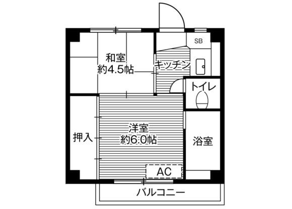 在千葉市稲毛区内租赁2K 公寓大厦 的 楼层布局