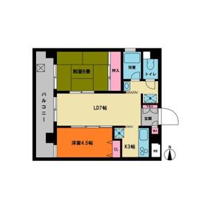 2LDK Mansion in Yamashitacho - Yokohama-shi Naka-ku Floorplan