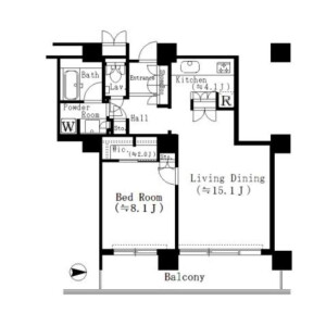 1LDK Mansion in Tsukuda - Chuo-ku Floorplan