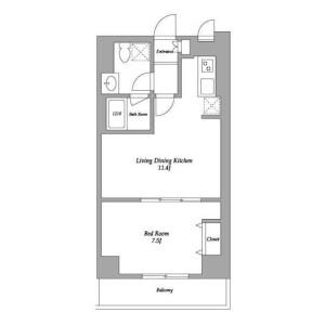 1LDK Mansion in Shinjuku - Shinjuku-ku Floorplan