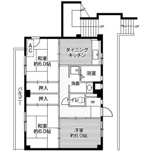 3DK Mansion in Kawai shukucho - Yokohama-shi Asahi-ku Floorplan