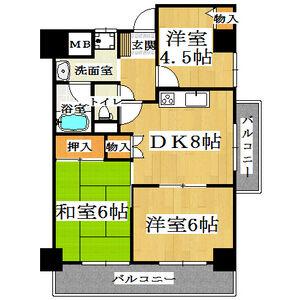 3LDK Mansion in Kumata - Osaka-shi Higashisumiyoshi-ku Floorplan