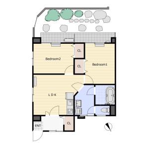 2LDK Mansion in Naritahigashi - Suginami-ku Floorplan