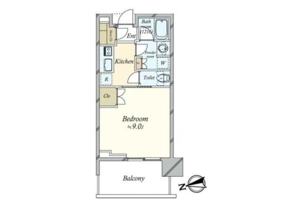 在港区内租赁1K 公寓大厦 的 楼层布局