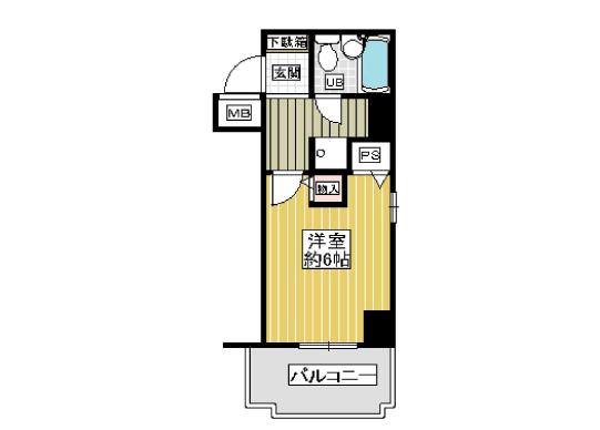 1K Apartment to Buy in Osaka-shi Nishi-ku Floorplan