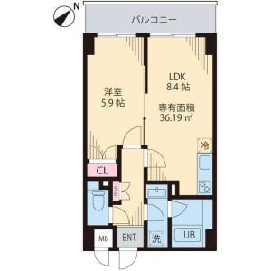 1LDK Mansion in Kamiishiwara - Chofu-shi Floorplan