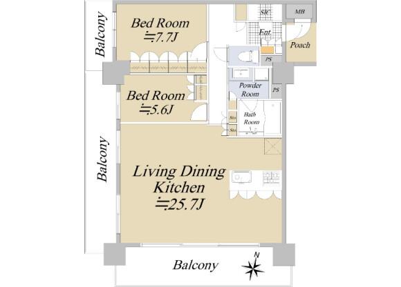 2LDK Apartment to Buy in Fukuoka-shi Chuo-ku Floorplan